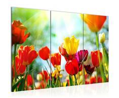 Tableau decoration murale Tulipes de fleurs 120 x 80 cm - XXL Impression sur Toile Salon Appartment 3 Parties - prêt à accrocher - 201931a