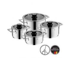 WMF Vari ocuisine Cuisine, 4 pièces, avec couvercle en verre avec thermomètre, Croma rgan Acier Inoxydable, bord en silicone, passe au lave-vaisselle