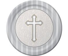8-count rond Assiettes Plates, Argent Passion pour la croix