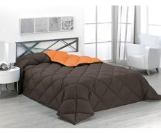 SABANALIA enbi 400-180R/N - Couette Bicolore 400 g Cama 105-180 x 270 Naranja y Chocolate