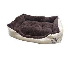 Cleanwizzard Flauschi Panier lavable avec intérieur douillet pour chien, chat ou autre animal domestique Größe M - 61 x 48 x 18cm Innen Braun ohne Hundenapf