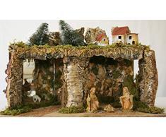 euromarchi Crèche de Noël Vide, maisonnette en Bois de forêt, Paille et Mousse, avec lumières, 58 x 34 x 37 cm 58 x 34 x 37 Multicolore