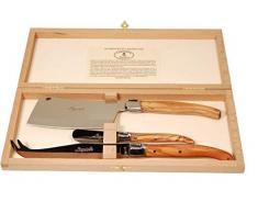 Laguiole Ménagère avec 3 Couteaux à Fromage Bois dolivier