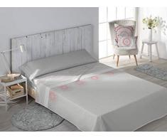 SECANETA Stilia Parure de lit 3 pièces avec Drap-Housse, Drap Plat et taie doreiller Motif Corail 135 x 190/200 cm