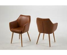 AC Design Furniture Chaise de Salle à Manger en Cuir Vintage