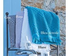 Garnier-Thiebaut BOHEME Serviette Eponge, Coton, Bleu Pétrole, 50 x 100 cm
