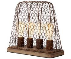 Brilliant 99018/60 Lampe de table, Métal, Schwarz-Rost-Braun/Gewischt