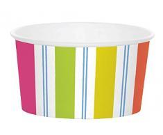 Caspari avec auvent à Rayures friandises Tasses, Papier, Multicolore, 12.1x 12.1x 5.7cm