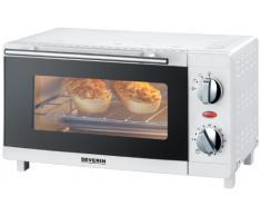 SEVERIN Mini-Four, Inclus : Grille et Lèche frites, Minuteur jusquà 60 min, 3 Modes de Cuisson, 800 W, 9 L, Blanc, TO 2054