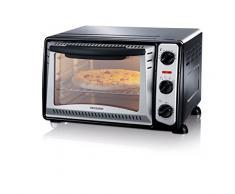 SEVERIN Mini-four gril (1 500 W, Grille et plaque de cuisson incluses, 20 L), Argent/noir, TO 2034
