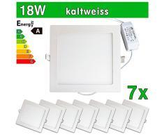 LEDVero Lot de 7 Panneaux LED ultrafins SMD 2835 18 W Plafonniers encastrables carrés, blanc froid SP221