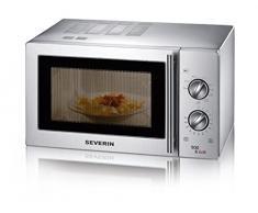 SEVERIN Micro-ondes 2-en-1 (Avec fonction gril, grille et plaque tournante (Ø 27 cm) inclus) acier inoxydable brossé, MW 7849