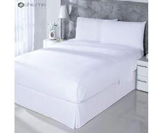 DHestia Hosteleria Parure de lit en Coton mélangé avec Drap Plat, Drap-Housse et taies doreiller pour lit de 90 x 190/200 cm Blanc