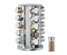 Relaxdays 10026458 Carrousel à épices avec 20 pots à épices rotatifs à 360° en acier inoxydable Argenté 34,5 cm