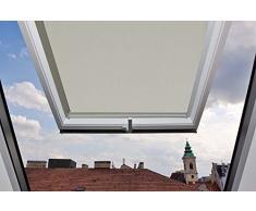 Cleanwizzard Store enrouleur occultant avec glissières latérales en aluminium pour fenêtres de toit VELUX GGU/GGL/GPU/GPL/GHU/GHL/GTU/GTL/GXU/GXL, Hellbeige/Creme, C04-38,3x74