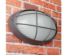 Applique marine E27 AMSTERDAM étanche B:32cm à grille ovale lampe dextérieur anthracite porte de maison