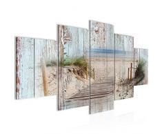 Tableau decoration murale Planches de bois de plage - XXL Impression sur Toile Salon Appartment 5 Parties - prêt à accrocher - 606153a