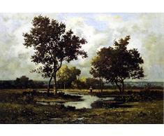 OdsanArt 20 x 30 cm Art scolaire Figurative personnes Peasant Par un étang de Léon Richet haute qualité Fine Art Prints Reproduction de photographie dArt sur toile