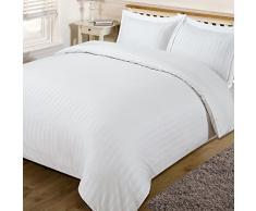 Dreamscene housse de couette superbe Satin rayé Parure de lit, blanc, Simple