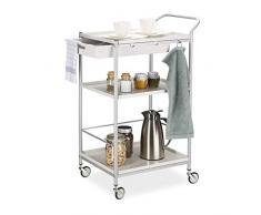 Relaxdays 10024553 Chariot de Service Cuisine en Acier, avec tiroir, roulettes pivotantes à 360°, HxlxP: 95x56x38 cm, Blanc/Gris