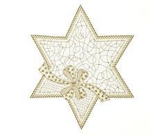 Plauener Spitze Napperon Réveillon 32 cm, Bijoux, décoration de table, décoration de table (écru/doré)