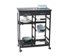 Wenko Bon Appetit Chariot de Cuisine avec roulettes et Plateau en Verre avec Motif, idéal comme Chariot de Service ou étagère de Cuisine, en MDF, 67 x 86,5 x 35 cm, Noir