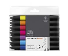 Winsor & Newton Promarker Brush Set de 12 Marqueurs + 1 blender Tons Vibrants