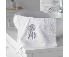 douceur dintérieur serviette invite 30x50 cm eponge brodee talisman blanc