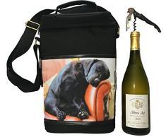 COUNTRY MATTERS Sleeping Lab Motif Chien Sac Pique-Nique à vin Isotherme, Polyester, Multicolore, 10x 23x 34cm