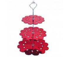 Trois étages Rouge Miroir Napperon présentoirs à gâteaux–Standard et poignée Argenté