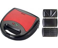 brock Electronics ssm-2003-rd gaufrier 3Â en 1, 750Â W, 0Â DB, Acier inoxydable, rouge