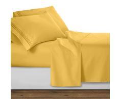 Clara Clark Ensemble Parure de lit de de la Collection Premier 1800 en Microfibre à 3 Lignes, Jaune, King Size