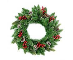 SHATCHI Guirlande de Noël Artificielle 55 cm avec Baies et Pommes de pin givrées à Suspendre sur Une Porte, Un Mur, Une Porte, Un Mur, Une décoration de Noël à LED Vert