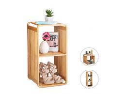 Relaxdays bambou, salle de bain, étagère sur pieds arrondie, carrée, différentes tailles, nature 3 étages, 64,7 x 33 x 33 cm