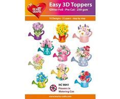 Easy 3D Décorations Fleurs dans Arrosoir, Papier, Multicolore, 17x 10x 1cm