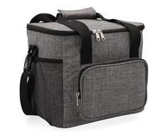Quid Sac à Repas Lunch Bag, extérieur en Tissu et intérieur Isotherme, 28 x 22 x 26 cm – 15 L, 2 Compartiments, matériau (Mousse Thermique), Gris, L