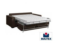 Canapé NEPTUNE convertible ouverture EXPRESS 160 cm nova grand confort matelas BULTEX 14 cm tissu tweed marron