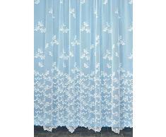 HomeMaison Envolée de Papillons Voilage, Polyester, Blanc, 240x240 cm