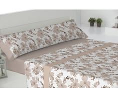 Todomueble Paduana Palma Parure de lit composé par Drap-Housse, Drap Plat et 2taies doreiller 200x28x4 cm Beige