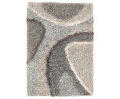 Un Amour de Tapis 13740 Delphi Tapis Shaggy à Poil Long Polyester Argent/Gris 70 x 140 cm