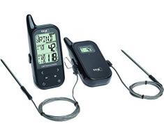 TFA-Dostmann Thermomètre de Cuisson sans Fil Twin avec Deux capteurs et Un Chiffon. Caractéristiques : Plastique, Noir, Plastique, Noir, 6 x 3 x 14 cm