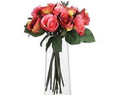 Hill Interiors Bouquet de Roses Rouges Arbuste artificiel, rouge/vert/rose/vert clair