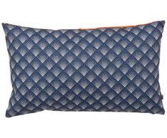 Maison Martin Morel 0660042082343 Coussin Rectangulaire Damier Verso Coton Bleu/Orange 8 x 30 cm
