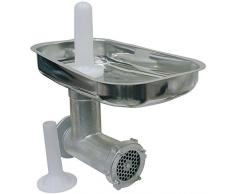 Reber Accessoire Hachoir N ° 12Corps en Fonte Lourde traitée avec résine Alimentaire. Entonnoir, filière et Couteau en Acier Inoxydable, Pilon en Plastique.