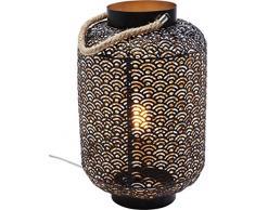Kare Lampe de sol parapluies: métal acier laqué, corde: Textile chanvre, noir, 30x 30x 48cm