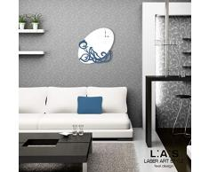 L:A : S Laser Art Style Horloge Murale Design Moderne pour Cuisine, Salon, séjour SI-242OR 68x68 cm Bianco-blu Distante