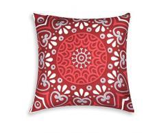 Excelsa Mandala Coussin décoratif en Coton et ouate Rouge 45 x 45 cm