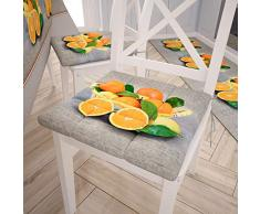 PETTI Artigiani Italiani Lot de 6 Coussins de Chaise de Cuisine 4 Points Orange