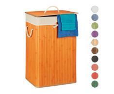 Relaxdays 10019053_57 Panier Bambou, Corbeille Linge Pliante, 83L, Sac intérieur Coton, 65,5 x 43,5 x 33,5 cm, Orange