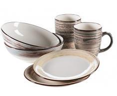 Mäser Serie Duole Ensemble de petit-déjeuner pour 2 personnes, vaisselle vintage 6 pièces Marron/bleu/beige. Marron/bleu/beige.